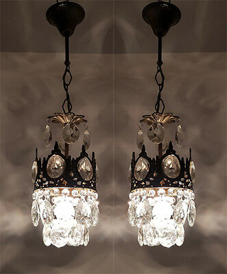A Pair of Antique French Basket Style Brass & Crystals small Chandelier  1950's