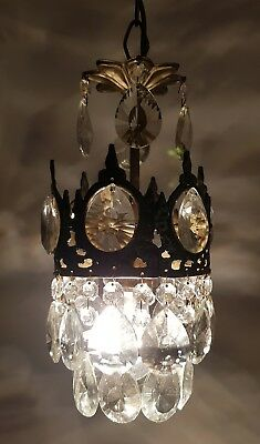 Antique / Vintage French Basket Style Brass & Crystals small Chandelier   1950's