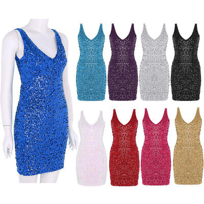 Women's Vintage 1920s Style Sequined V Neck Bodycon Mini Cocktail Party Dresses