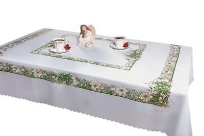 Large White Christmas Tablecloth with Shining Glitter Green Pattern 140 x 220cm