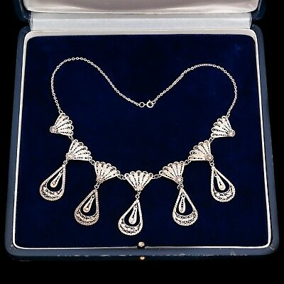 Antique Vintage Nouveau Sterling 800 Silver Etruscan Filigree Festoon Necklace