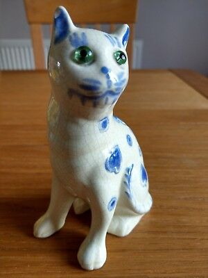 An Old Galle Style Blue & White Cat with Green Beaded Eyes & Heart Decoration