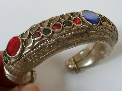 X-MAS SALES,MUSEUM QUALITY,POST/LATE MEDIEVAL 44.3g SILVER BRACELET W/GLASS STON