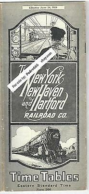 1929 New York Haven and Hartford Railroad Co. Timetable Brochure New England Map