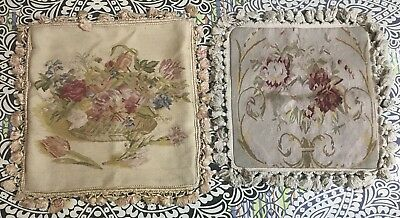 2 Antique 19C Aubusson French Hand Woven Tapestry Cushion