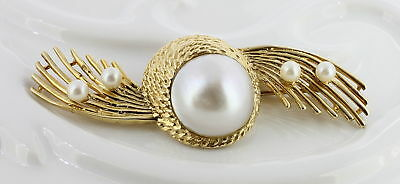Vintage Ladies 14K Yellow Gold Pearl Brooch/pin