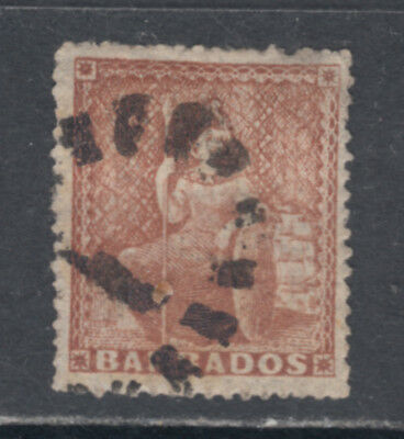 Barbados Scott 17a SG 26 F/VF Used 1859 (4d) Brown Red Perf 16 Britannia SCV $80