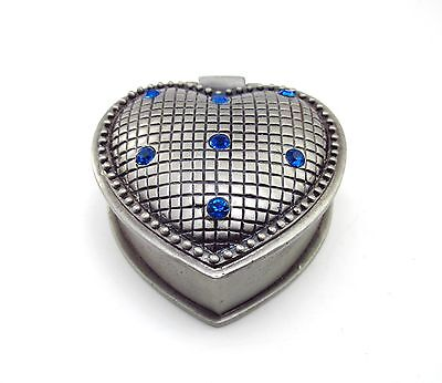 Heart Shaped Pewter Hinged Jewelry Box ~ Blue Crystals Small Trinket Box ~ New