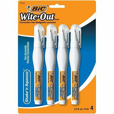 BIC Wite-Out Brand Shake 'N Squeeze Correction Pen, White (4 Count)