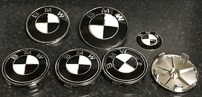 Black White BMW Alloy Wheel Centre Caps Bonnet Boot Full Set Series 1 3 5 Z2 Z3