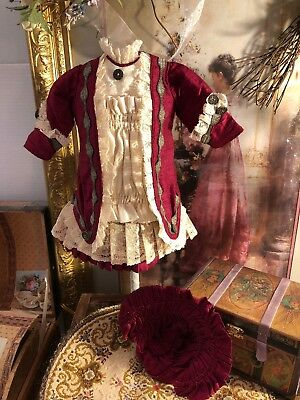 ~ Beautiful!!! Antique Style Vintage French Child Doll Dress w/Hat  ~