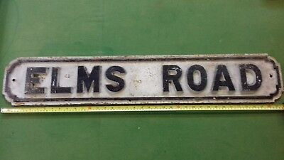 "Cast Iron Vintage Street Sign ""ELMS ROAD"""