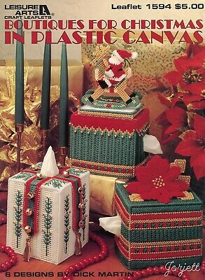 Boutiques for Christmas ~ 6 Boutique Tissue Covers plastic canvas pattern book