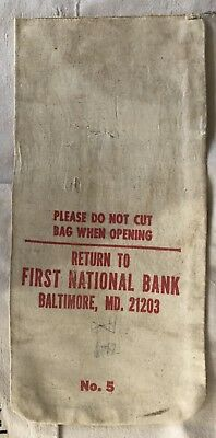 Vintage First National Bank Baltimore MD Cloth Bank Bag Preowned