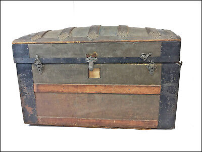 Vintage CAMELBACK STEAMER TRUNK storage chest box bin industrial loft toy rustic