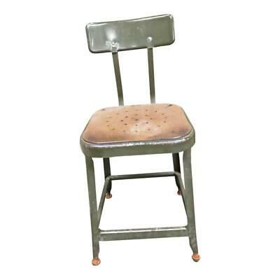 Vintage INDUSTRIAL STOOL steel metal chair seat steampunk LYON side rustic green