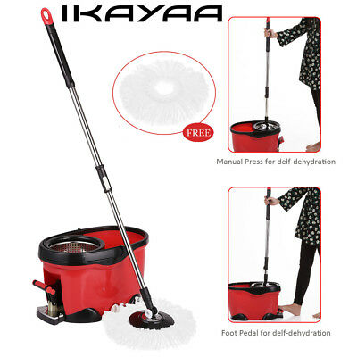 iKayaa Stainless Steel 360°Rolling Spin Mop&Bucket Set Foot Pedal Rotating D6R4