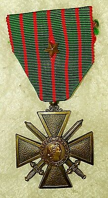 Original French WWI CROIX DE GUERRE Medal, Fourth Model 1914-1918, 1Bronze Star