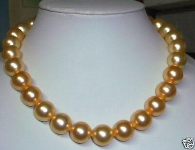 new 10mm gold south sea shell pearl necklace 18""