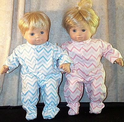 """Doll Clothes Baby Made 2 Fit American Girl 15"""" Bitty Twins 2pc Pajamas Rick Rack"""