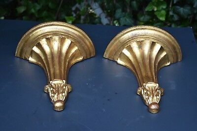 PAIR Vintage Gilt Paint Italy Wood Corbel SHELVES Each Hand-Carved Solid Lovely
