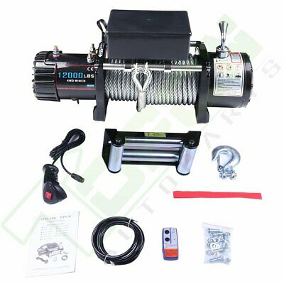 12000lb 12V Electric Winch for Jeep Truck Trailer SUV Wireless Remote Steel Rope