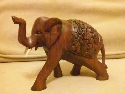 """BEAUTIFUL - Hand Carved 7"""" Wooden ELEPHANT Wood Statue by Balinese Crafter"""