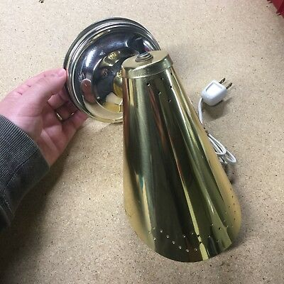 Vtg Mid Century Modern Bright Brass Starlight Cone Plug-In Wall Sconce Light