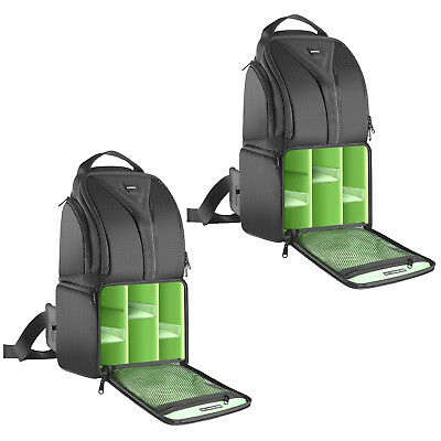 Neewer 2pcs Green Interior Waterproof Camera and Accessoreis Sling Backpack Case