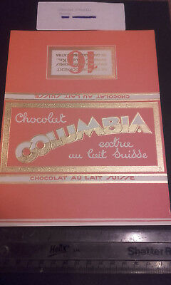 """#58(Art Deco 1930S)""""columbia""""france/french(Swiss Chocolate Bar Wrapper)Embossed"""
