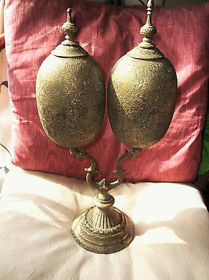 Vintage Large Engraved Brass Stand Double Ostrich Egg Pots Indian Elephant Deity