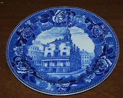"Historical Blue & White plate - Wedgwood - 9.25"" - Old State House Boston"