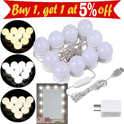 Dimmable Mirror Vanity LED Light Makeup Dressing with 10Bulbs Dimmer USB/AU Plug