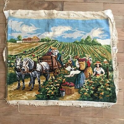 Completed French Vintage Tapestry, Wine, Farming, Horses, Cart, Countryside