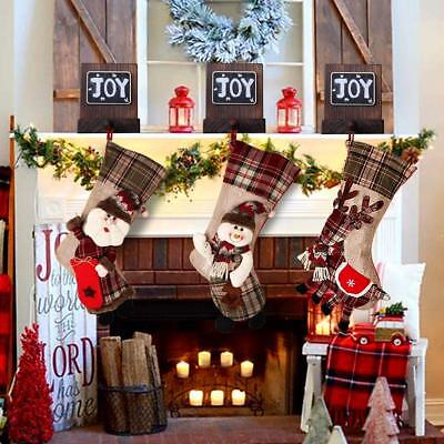 """PartyTalk 18"""" Large 3D Classic Christmas Stockings Set of 3 Plaid Christmas Cute"""