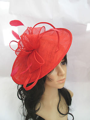 NEW POPPY RED SINAMAY & FEATHER FASCINATOR HAT.Shaped saucer disc,Wedding..races