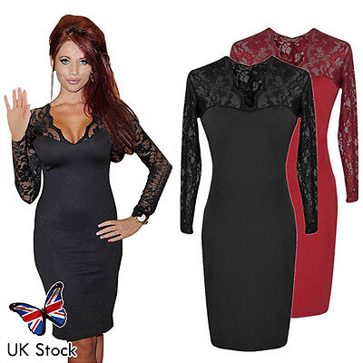 New UK Women Sexy V Neck Lace Cocktail Party Bodycon Ladies Formal Stretch Dress
