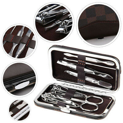 7Pcs Pedicure Manicure Nail Clippers Cleaner Cuticle Grooming w/Case Bag Set