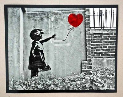 """Banksy - Girl With Balloon - B&W 10"""" x 8"""" photo- hand coloured-Signed & Numbered"""
