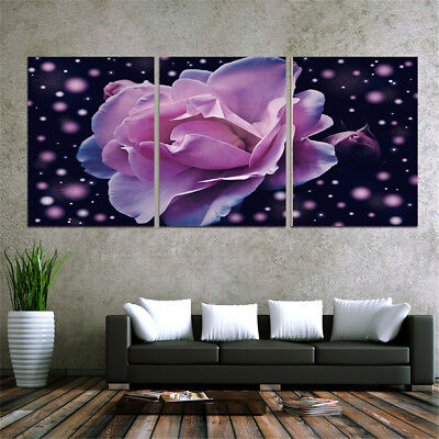 Unframed 3PCS Purple Roses Canvas Painting Picture Printing Art Home Wall Decor