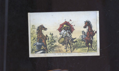 """1880 Currier and Ives Black Americana trade card, """"The Boss of the Road"""""""