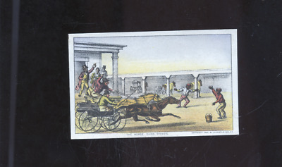 """1880 Currier and Ives Black Americana trade card, """"The Horse Shed Stakes"""""""