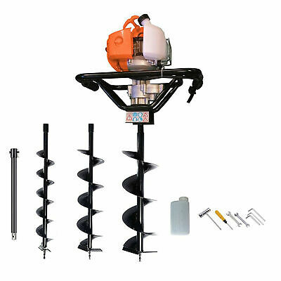 Petrol Earth Auger 52cc 3HP Post Hole Borer Ground Drill with 3 Bits