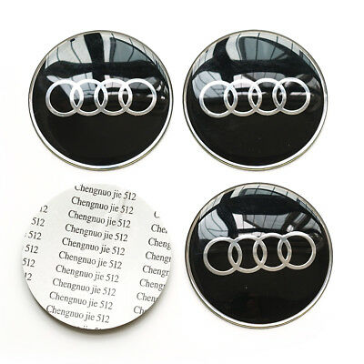 4x 65MM 2.56'' Auto Car Wheel Center Hub Cap Emblem Badge Decal Sticker for Audi