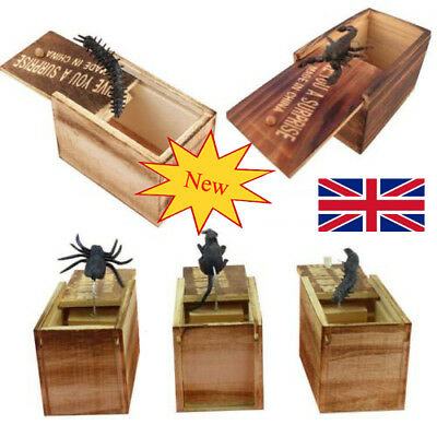 UK Wooden Prank Spider Scare Box Hidden in Case Trick Play Joke Gag Toys Random