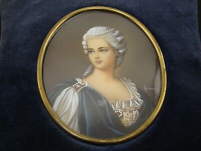 Signed Antique Hand Painted Miniature Portrait on Porcelain