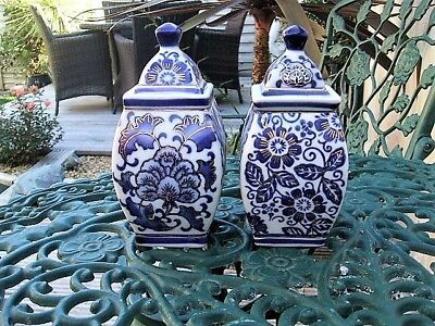 "Vintage-Antique Porcelain Storage Pots Blue=Gilding Excellent Condition ""pa"""