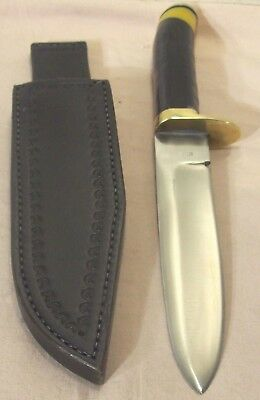 1990's~GUNN~CUSTOM HUNTING & FIGHTING RAZOR SHARP KNIFE w/BUFFALO HORN & SHEATH~