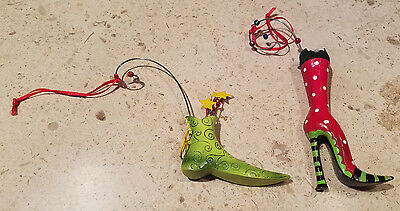 Department 56 Lollysticks Christmas Ornaments set of 2 Green Shoe & Red Boot