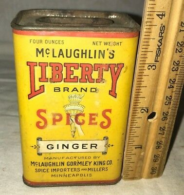 ANTIQUE McLAUGHLIN LIBERTY GINGER SPICE TIN VINTAGE MINNEAPOLIS MN CAN STATUE OF